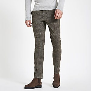 Grey check skinny fit pants
