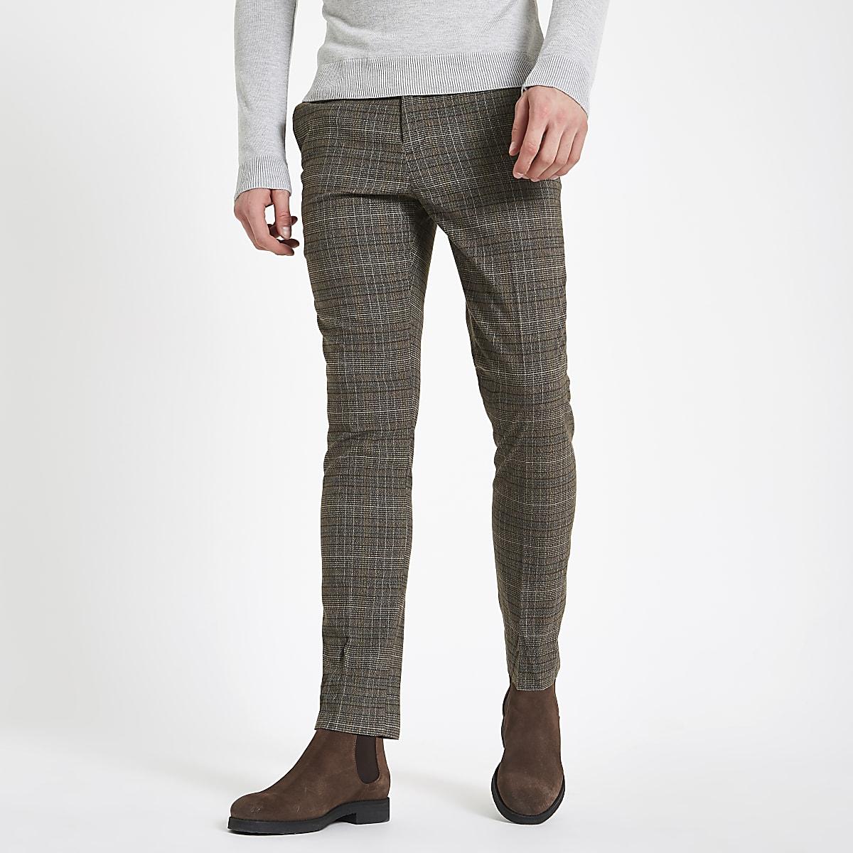 Joggingbroek Heren Skinny.Grijze Geruite Skinny Fit Broek Modieuze Broek Broeken Heren