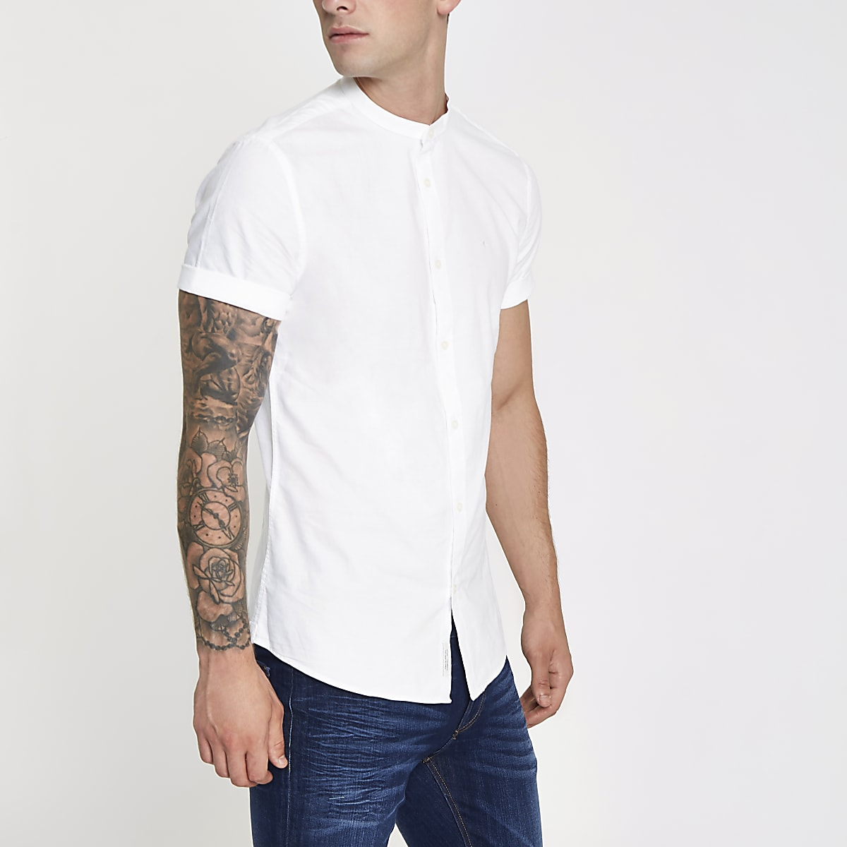 White wasp embroidered grandad Oxford shirt