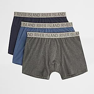 Lot de boxers longs imprimé RI bleus