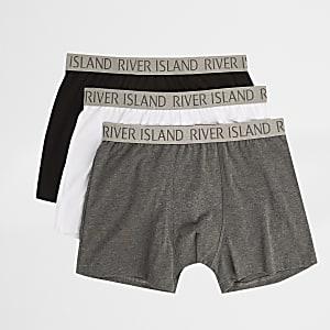 Set van 3 grijze strakke boxers met RI-print