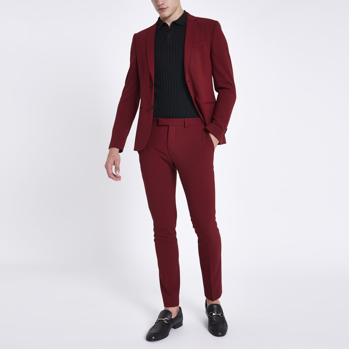 Red super skinny fit suit trousers