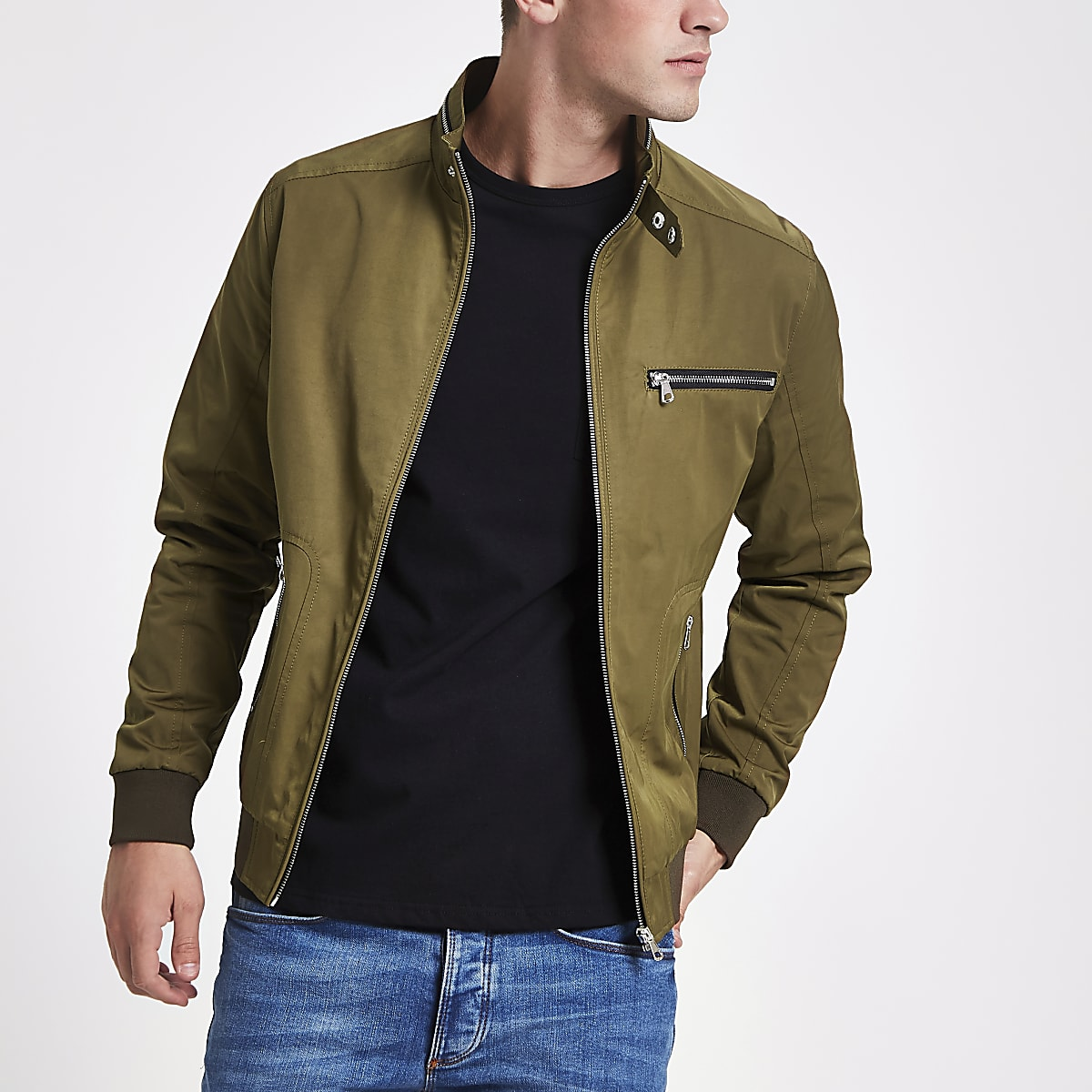 Khaki racer neck lightweight jacket