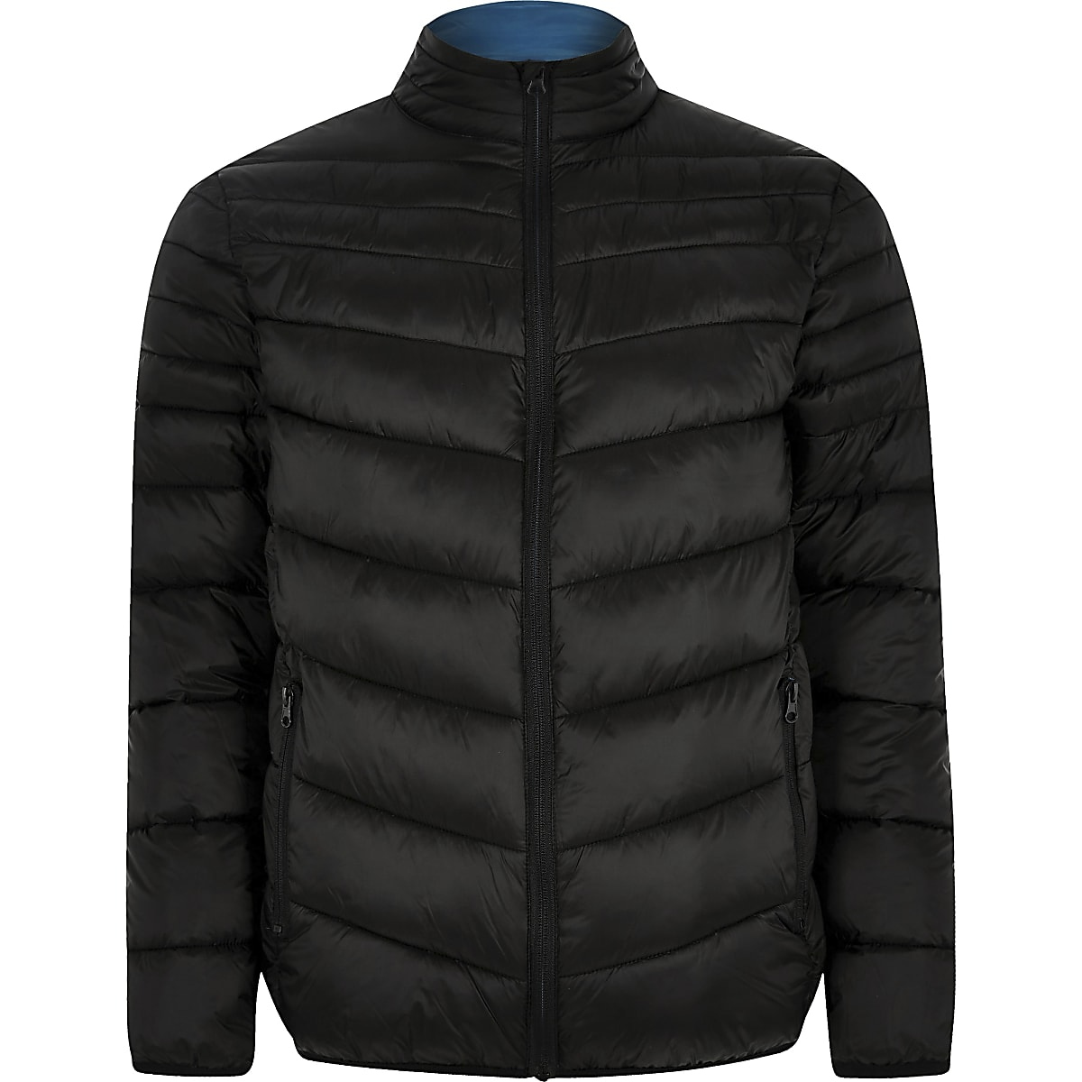 63962c972 Black zip front funnel neck puffer jacket
