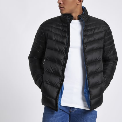 Black zip front funnel neck puffer jacket