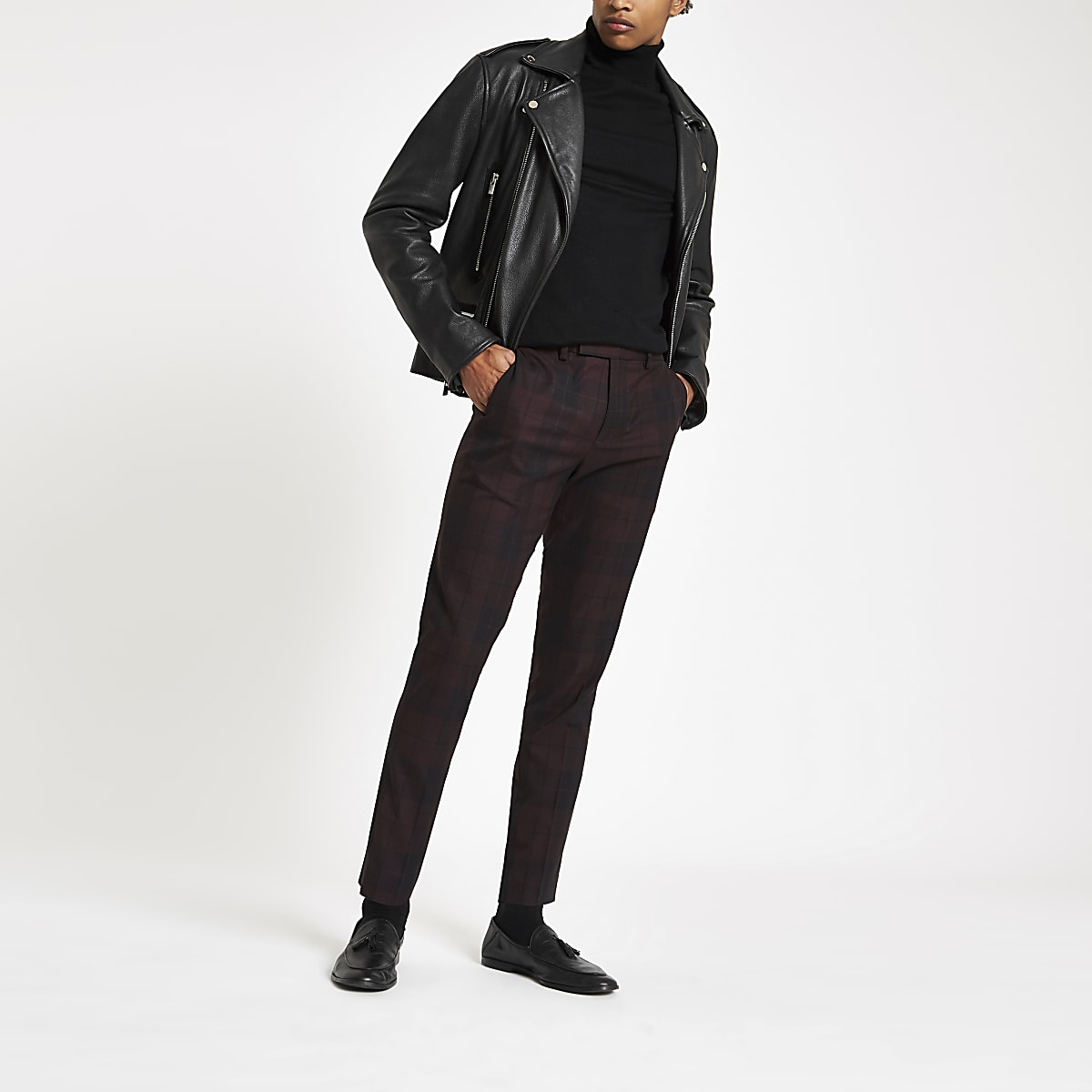 Dark red check skinny smart pants