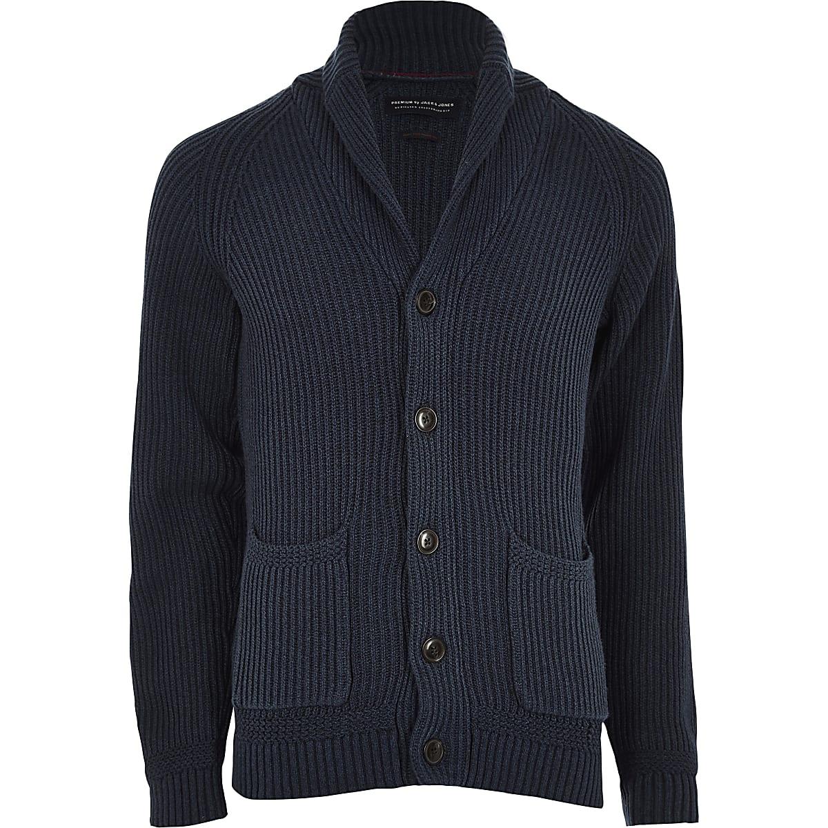 Jack & Jones navy knit shawl cardigan