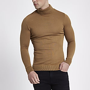 Slim Fit Rollkragenpullover in Camel