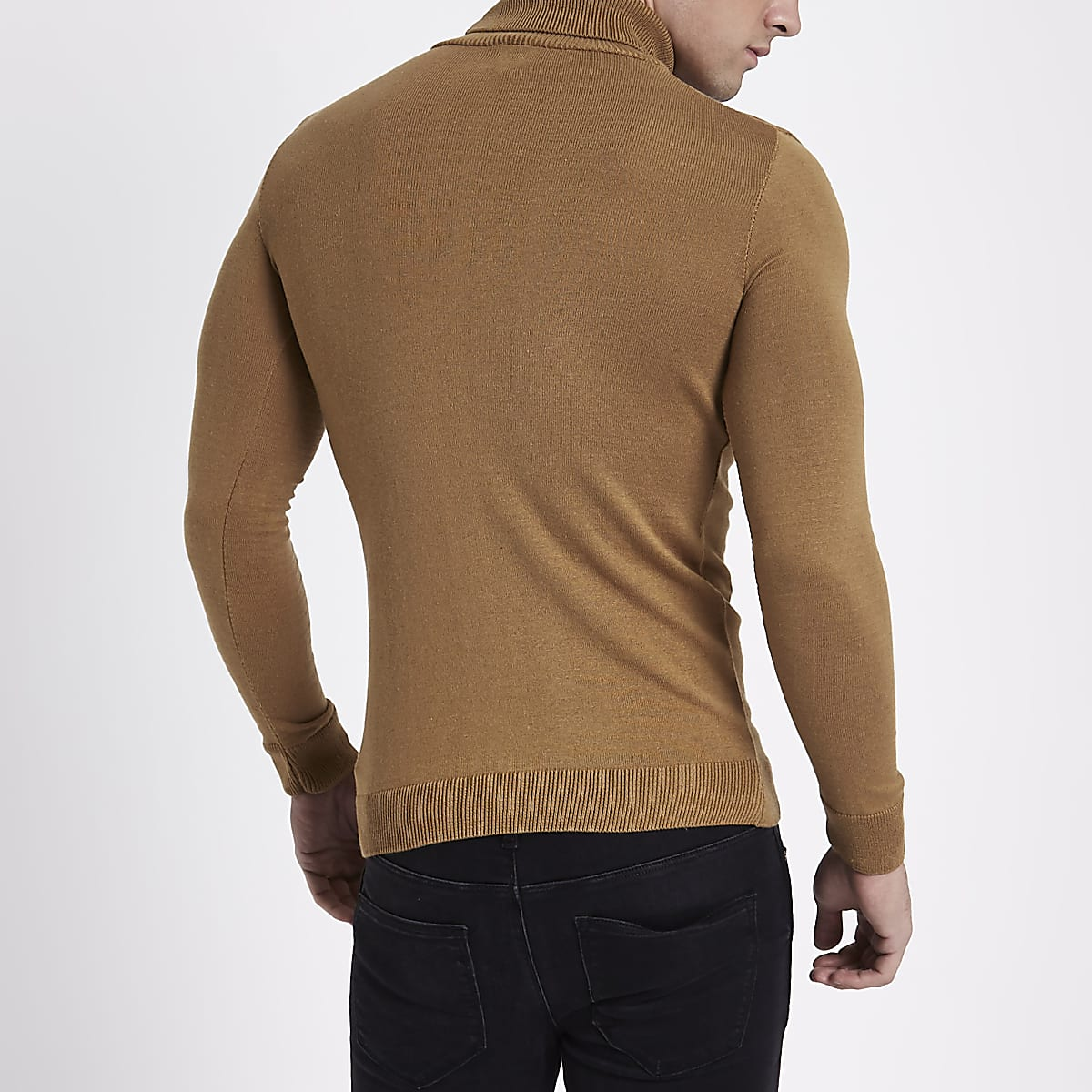 7b743317fd9 Camel slim fit roll neck jumper