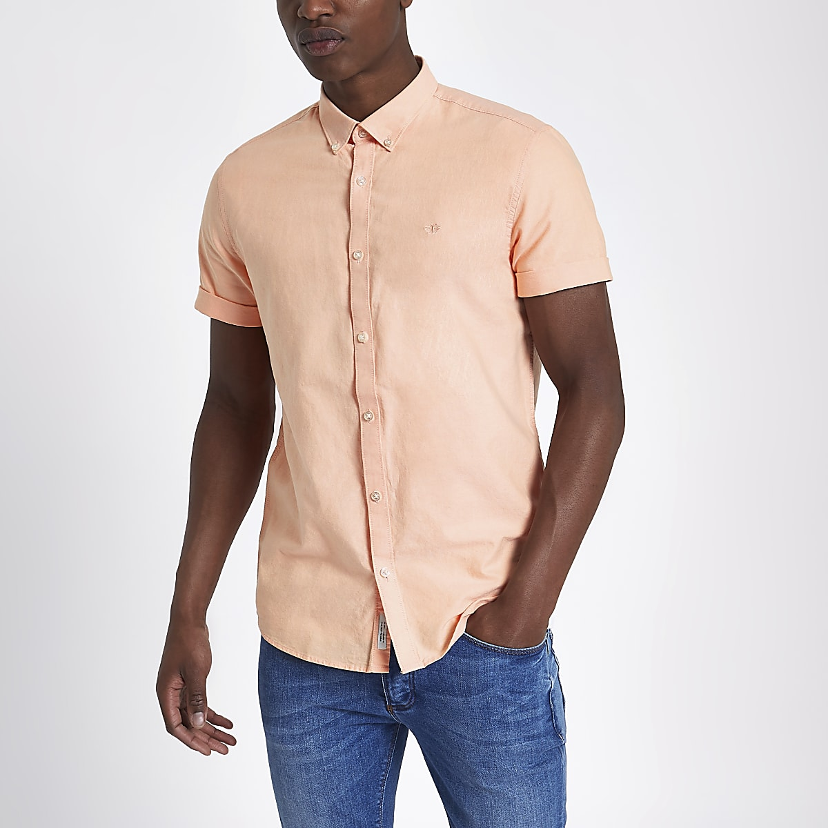 Peach orange short sleeve Oxford shirt