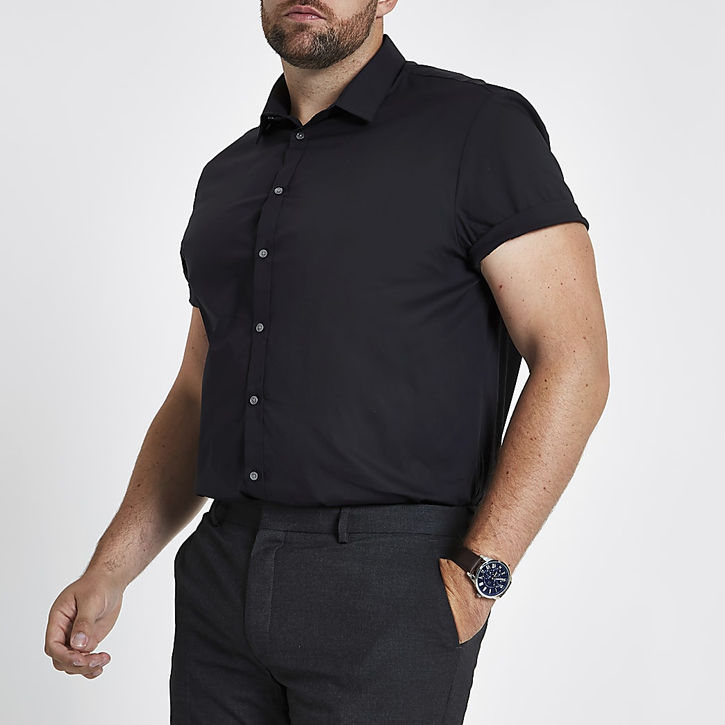 Big and Tall black poplin short sleeve shirt