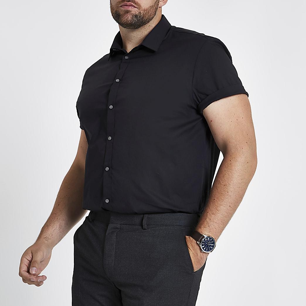 Big and Tall - Zwart poplin overhemd met korte mouwen