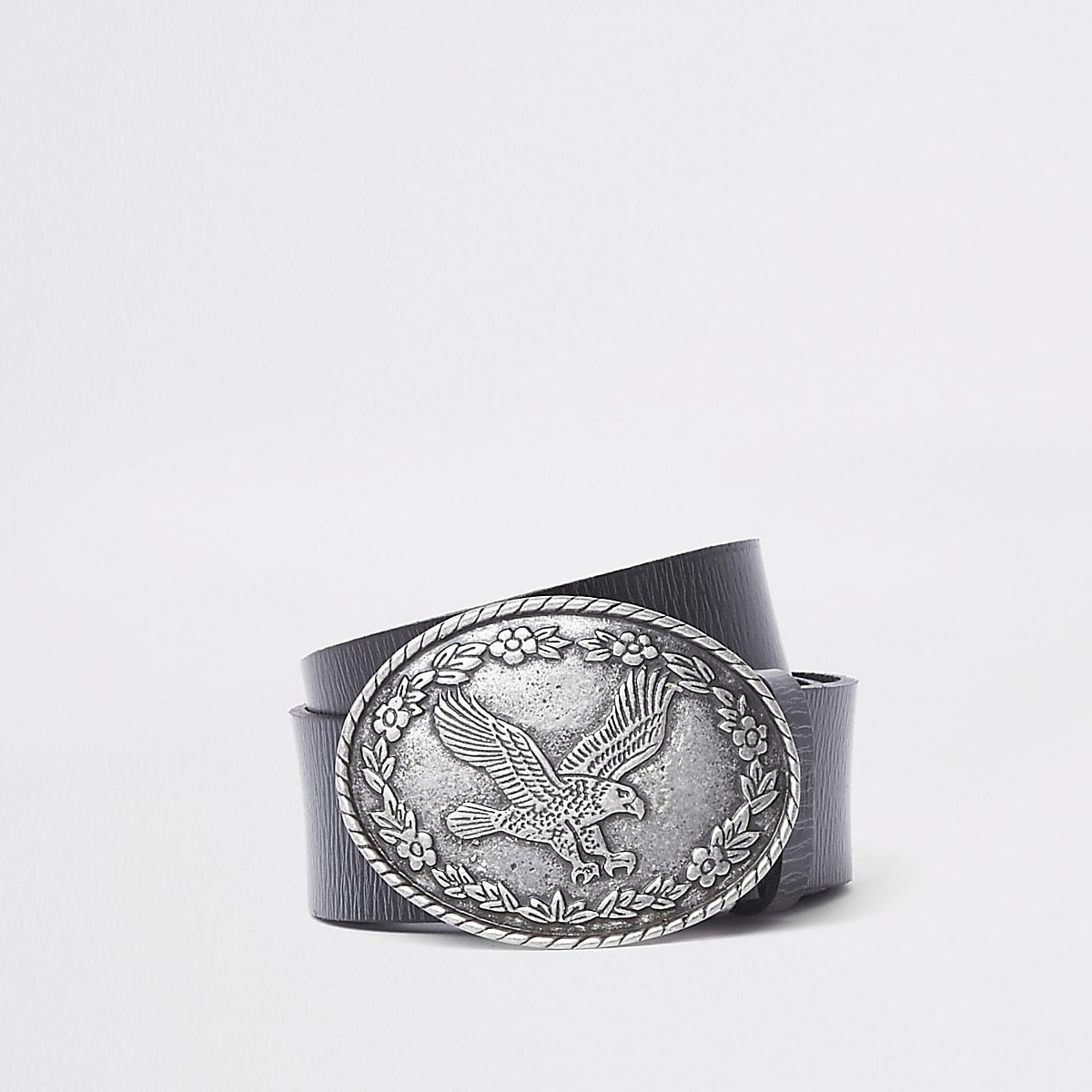 Ceinture en cuir noire à boucle ronde motif aigle