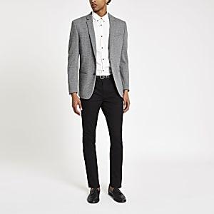 Blazer skinny en jersey à carreaux gris