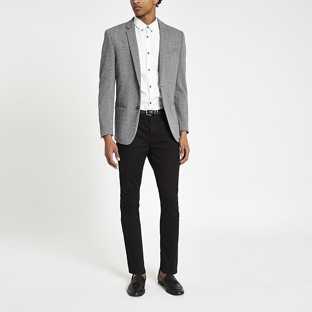 Grey check skinny fit jersey blazer