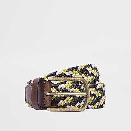 Yellow woven buckle belt