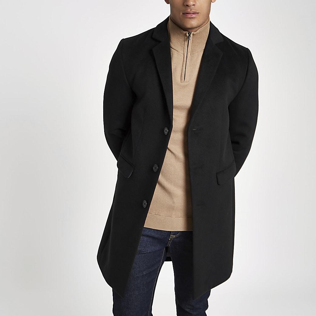 Schwarzer, einreihiger, klassischer Mantel