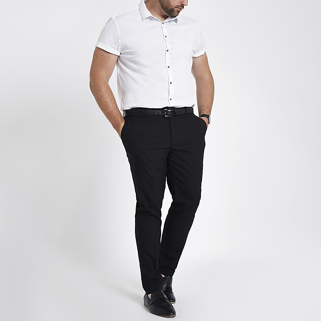 Big and Tall black skinny smart trousers