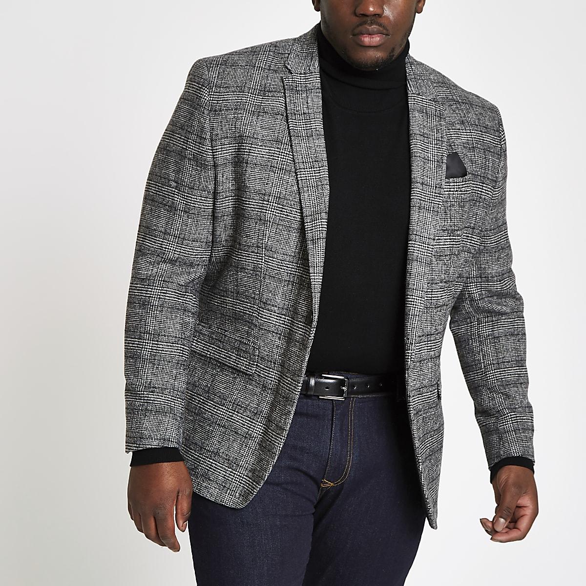 Big and Tall – Blazer skinny à carreaux gris