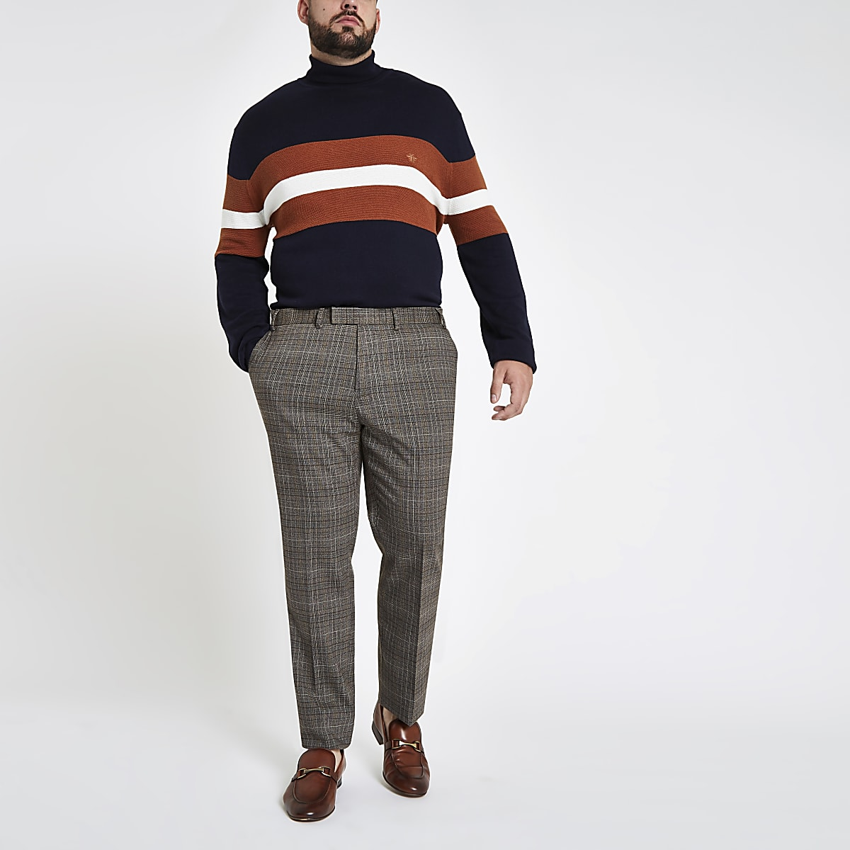 Big and Tall grey check skinny smart trousers
