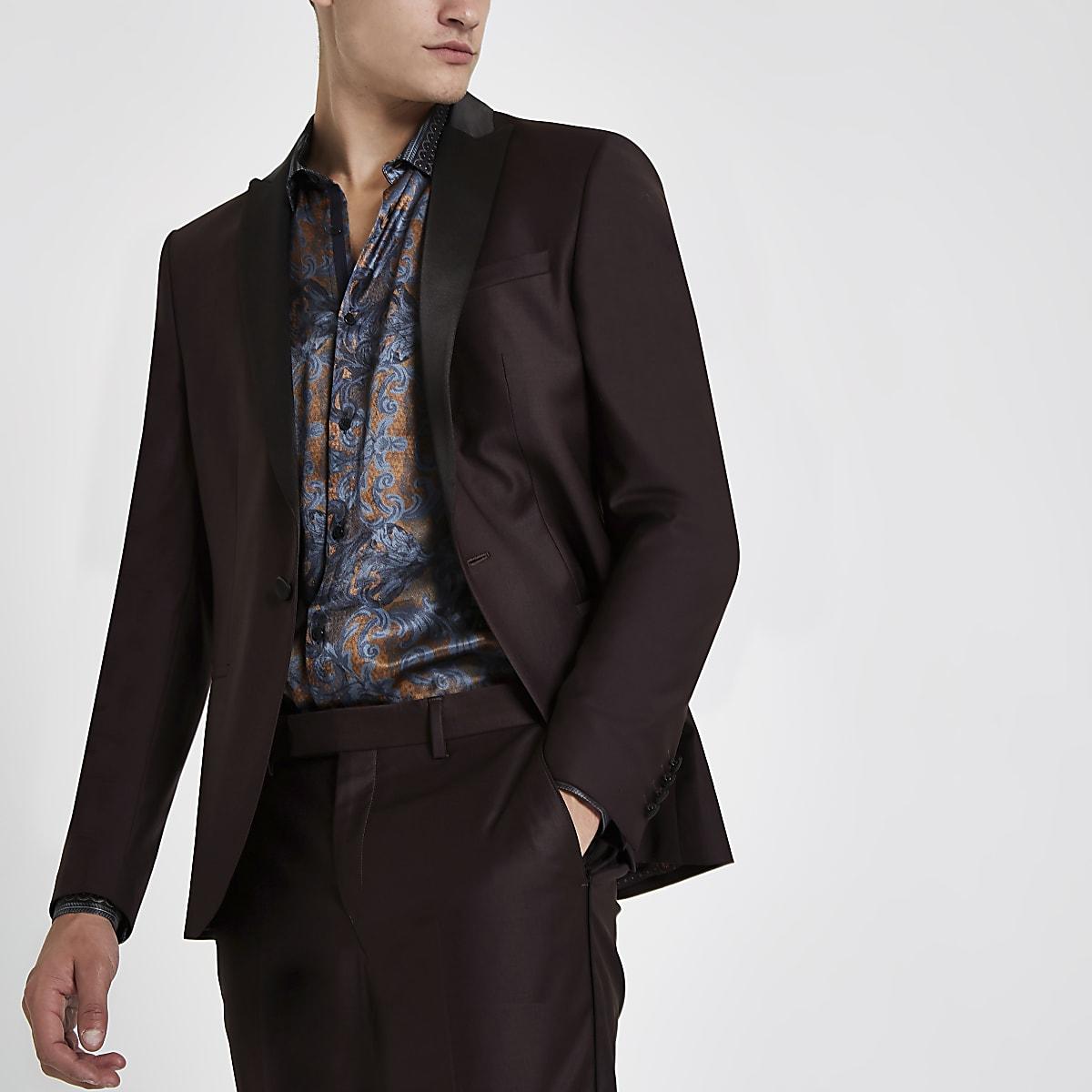 RI 30 burgundy skinny fit suit jacket