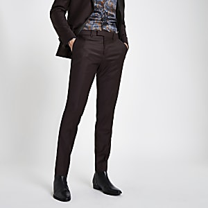 RI 30 burgundy skinny fit suit trousers
