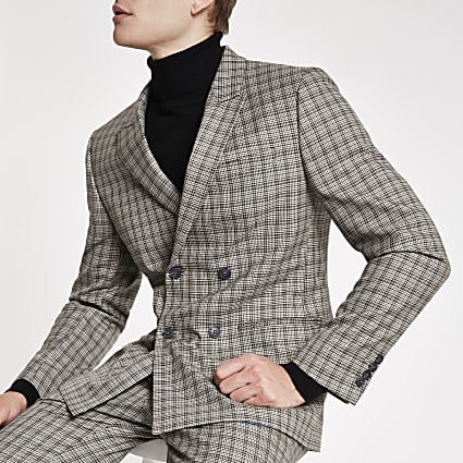 Ecru check double breasted skinny suit jacket