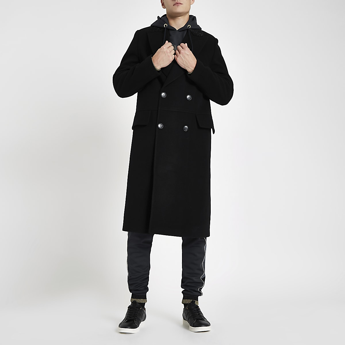 RI 30 black double breasted coat