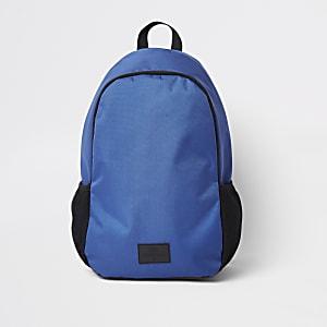 Sac à dos bleu à deux compartiments zippés