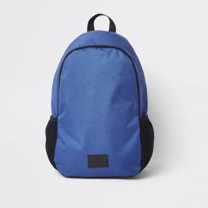 Blue double zip compartment rucksack