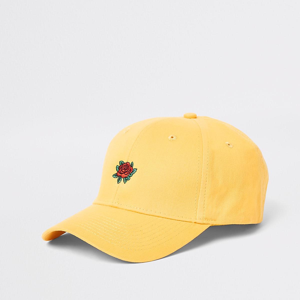 c2bebba19 Yellow rose embroidered baseball cap