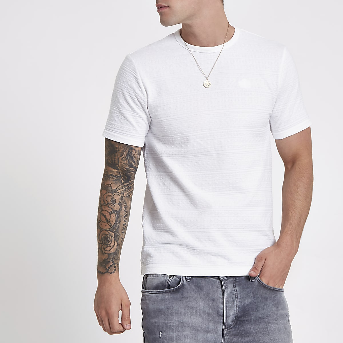 White jacquard slim fit T-shirt