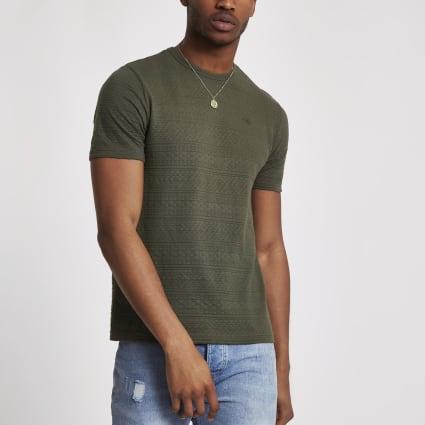 Khaki slim fit textured T-shirt