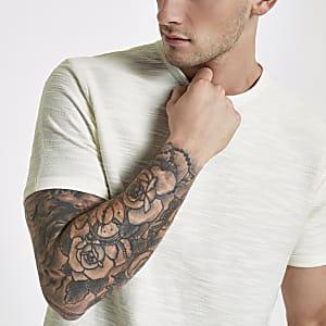 Ecru short sleeve slub slim fit T-shirt