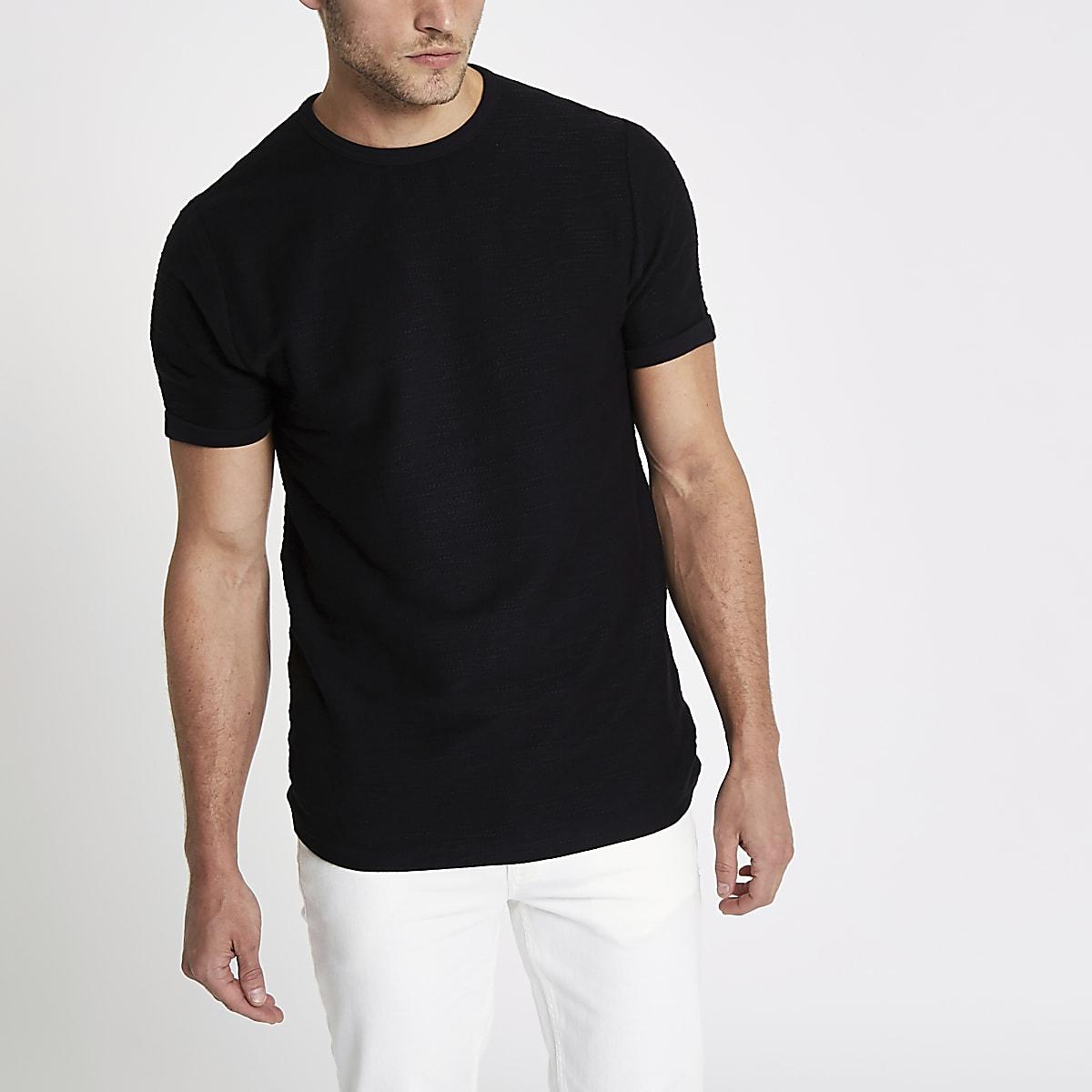 Black slub slim fit T-shirt