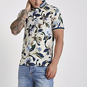 Stone muscle fit floral polo shirt