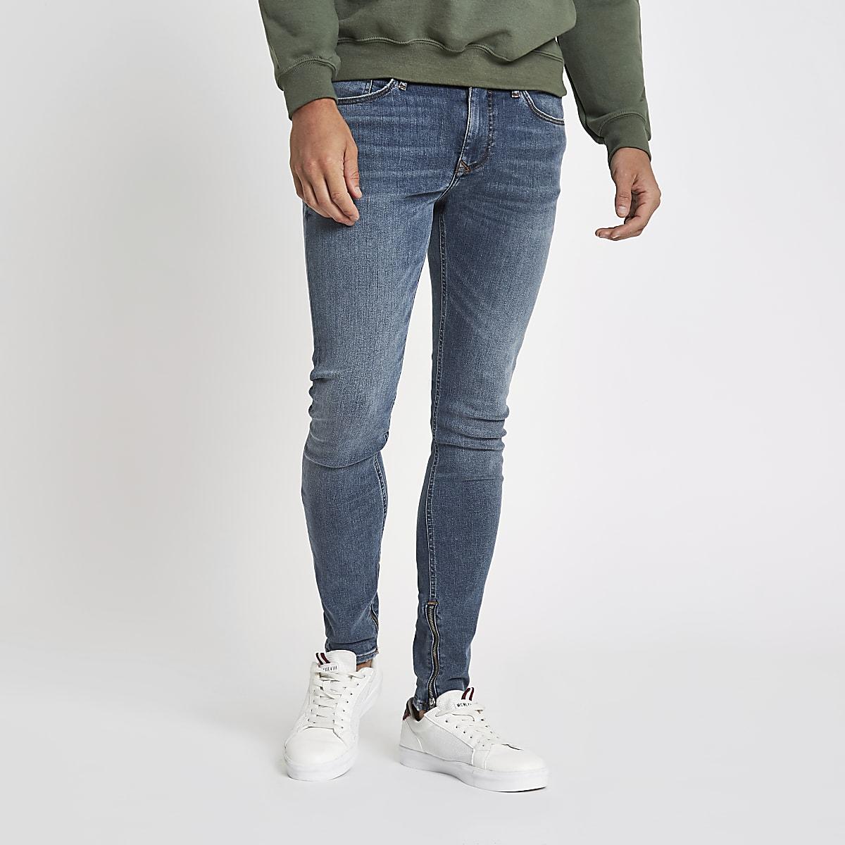 Mid blue Danny super skinny zip hem jeans