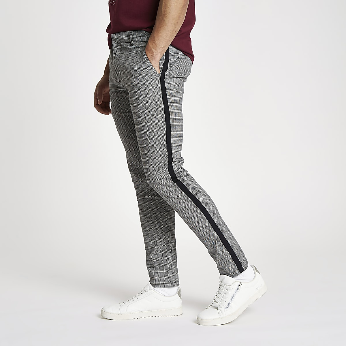 Grey check skinny fit tape chino pants