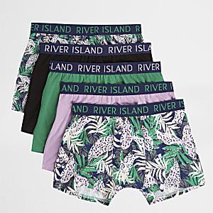 Rosa Slips mit tropischem Print, Set