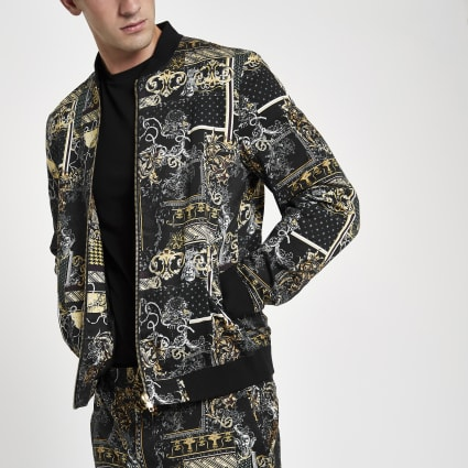 Black baroque print bomber jacket