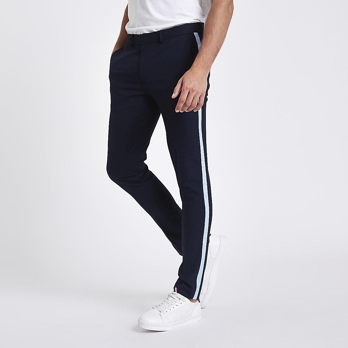 Navy tape side skinny smart trousers
