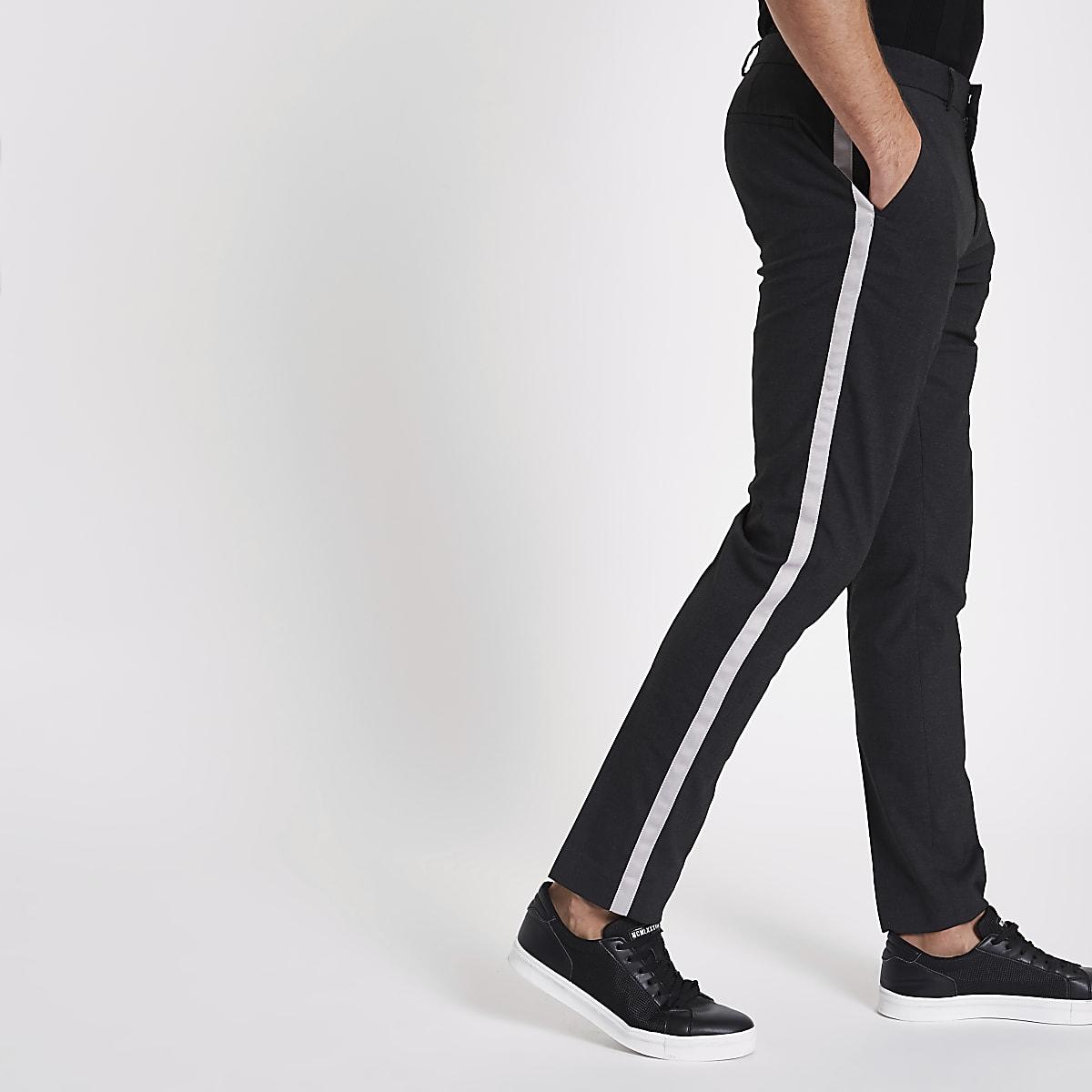Grey tape side skinny smart pants