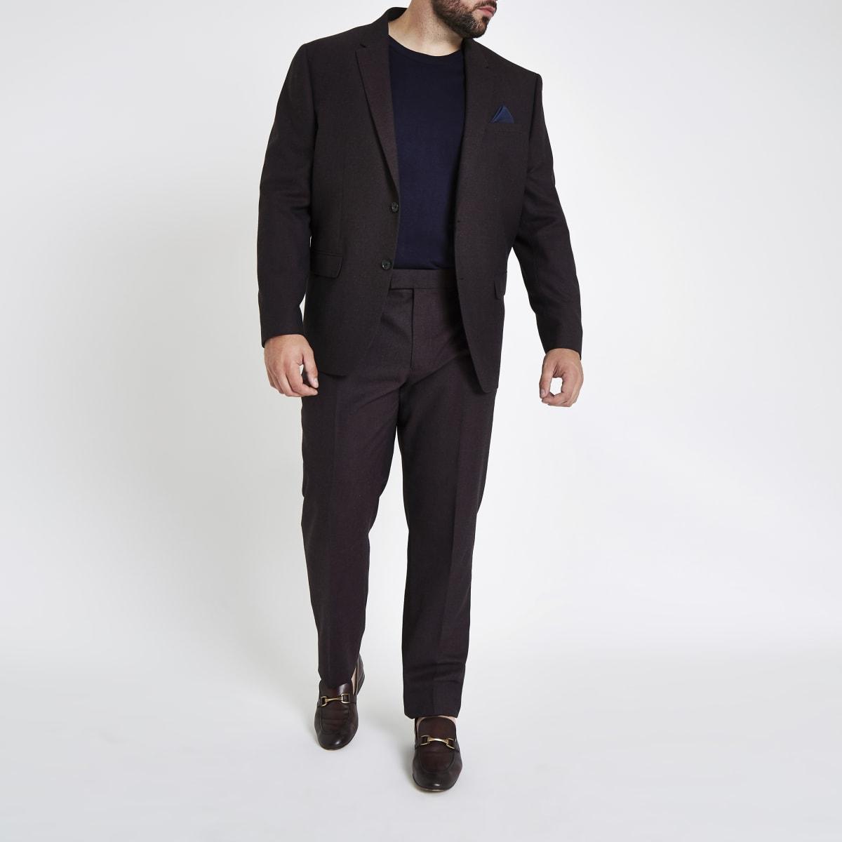 Big and Tall - Paarse slim-fit pantalon