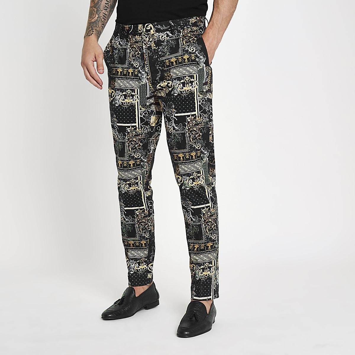 Black print smart trousers