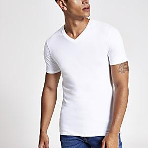 T-shirt ajusté blanc à col en V