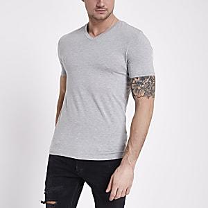 T-shirt ajusté gris à col en V
