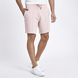 Pink pintuck wasp embroidered slim shorts