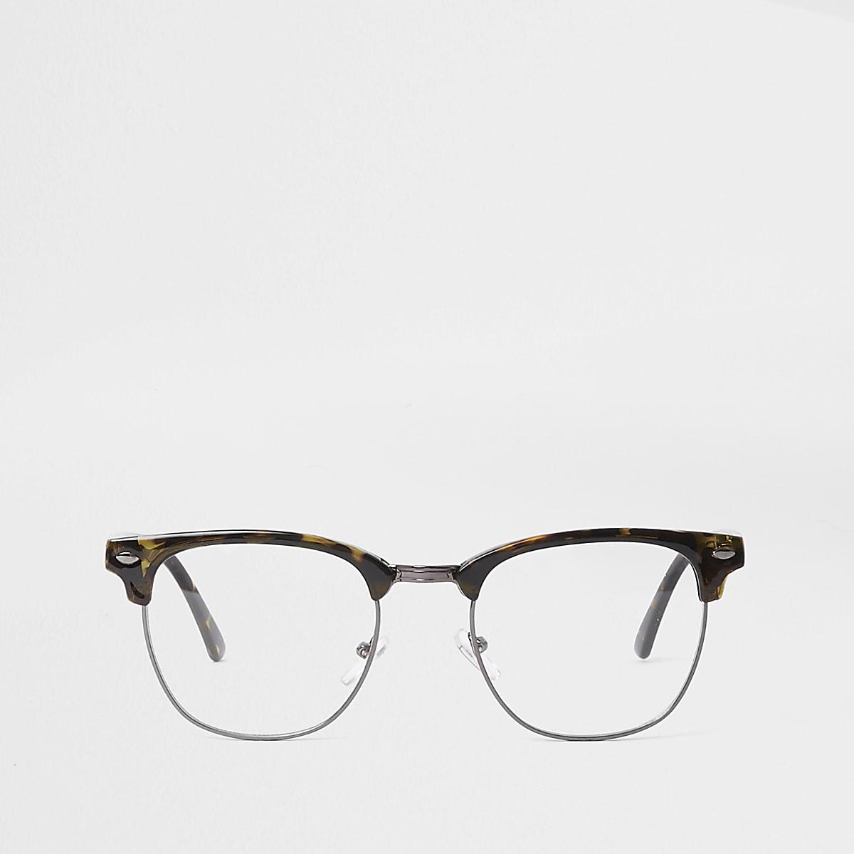 8fb5a3e6e4f07 Brown tortoiseshell clear lens glasses - Round Sunglasses - Sunglasses - men