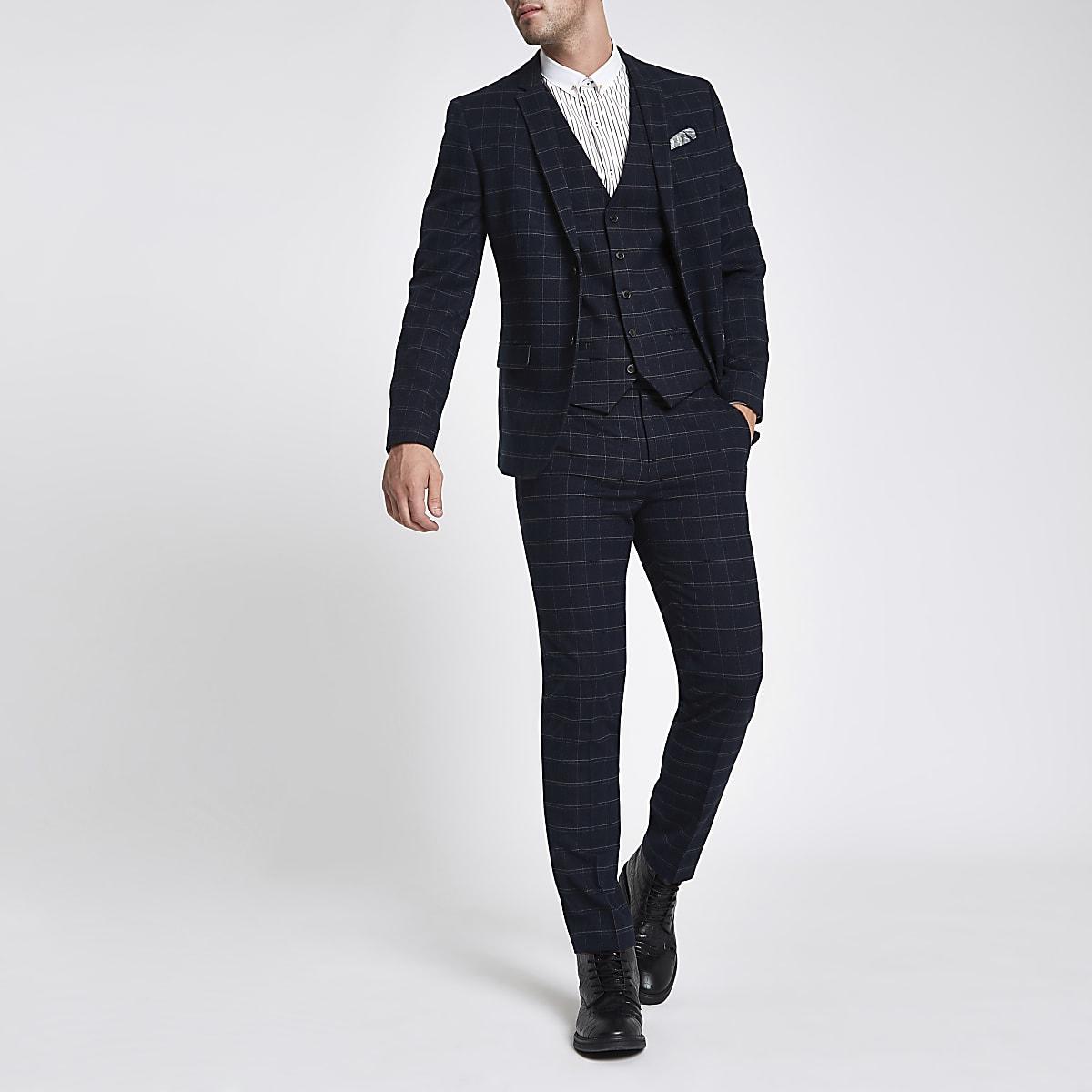 Veste de costume skinny à grands carreaux bleu marine