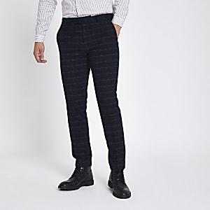 Navy window pane check skinny suit pants